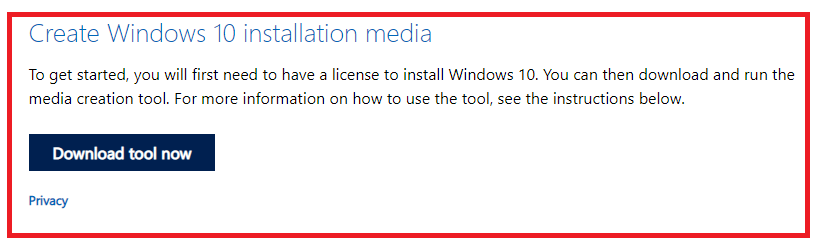 Download media creation tool to Install Windows 10 from a USB drive