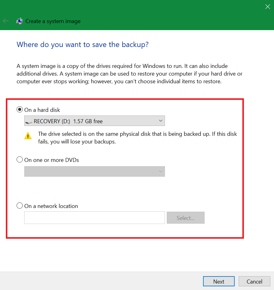 configure backup and restore in windows 10